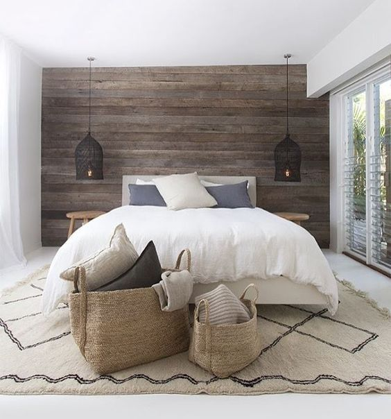 Master bedroom, bedroom, home decor, diy decor, throw pillows, fuzzy pillows, bench, king bed, headboard, basket, storage, shiplap wall, table, side table, bedroom plants, bird cage lights, lighting, Windows, blinds. Curtains, indoor plants, elegant