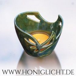 Pequeña vela - 6 cm - Luz de viento de cerámica vidriada - verde oscuro
