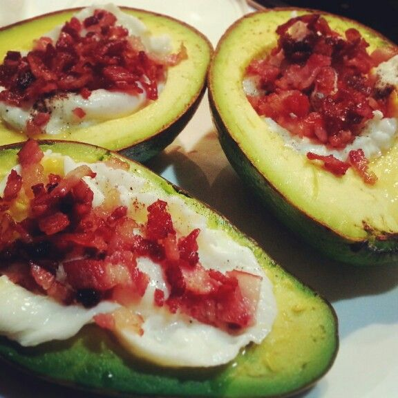 Avocado stuffed with eggs and bacon | My Creation ...