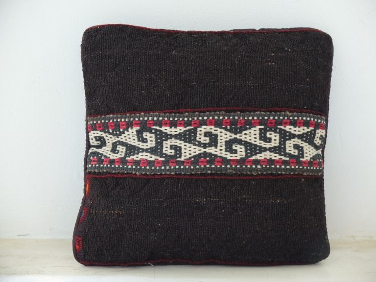 Persian Handmade Kilim cushion Cover - Black and Red Accent - 11' x 11' Inch (30x30 cm) - #Bohemian #Rustic #Homedecor. See on Etsy: https://www.etsy.com/listing/197713233/persian-handmade-kilim-cushion-cover?ref=shop_home_active_4
