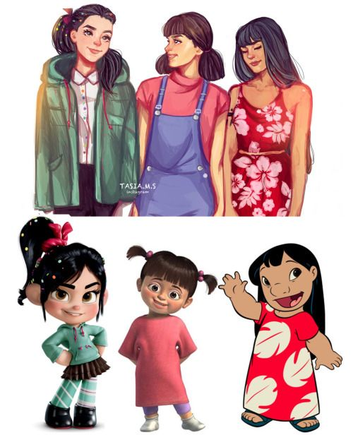 Vanellope (Wreck-It Ralph), Boo (Monsters Inc.) and Lilo (Lilo and Stitch) all .grown up