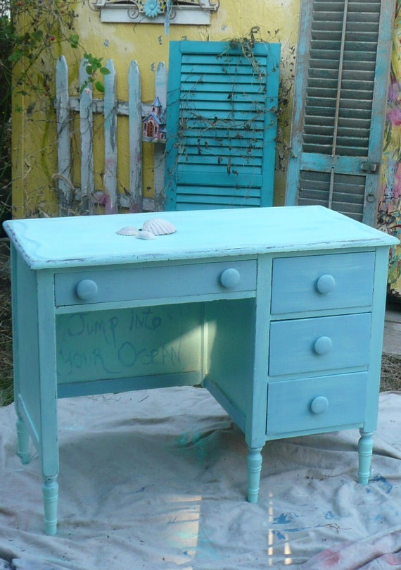 Kids Desk  But In White With Black Trim And Teal Flowers.or Damask Stencil.all  Over Damask   Even If I Could Find A Dresser To Maybe Turn Into A Desk?