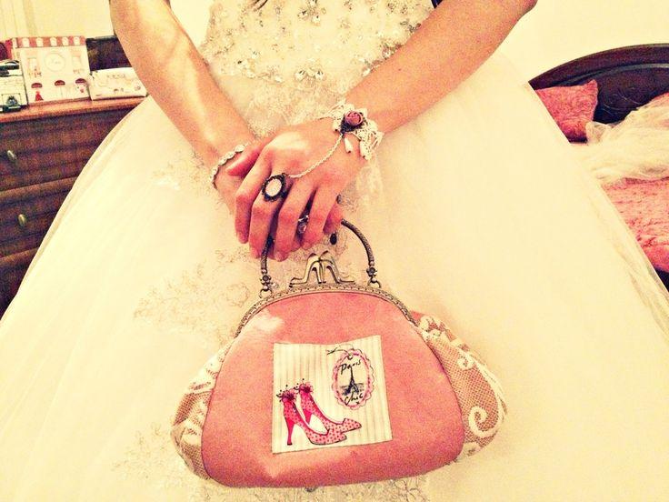 Wedding bride handbag Свадебная сумочка клатч невесты: розовый атлас и кружево