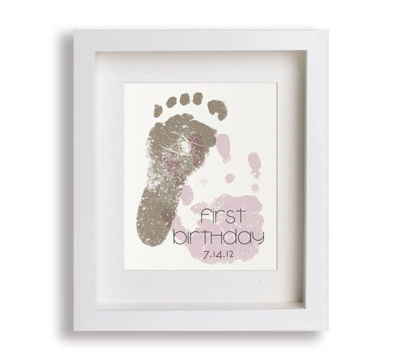 First Birthday Art Print - Personalized Hand and Foot Prints - 5x7…