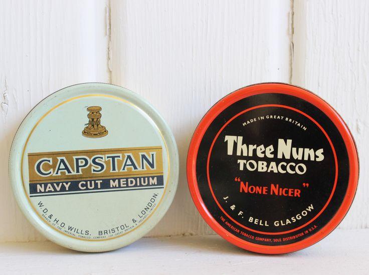 Cool British Tobacco Tins Capstan & Three Nuns (Mid Century Decor, Smoking Collectibles, Tobacciana, Vintage Advertising)