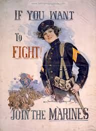 Full color World War I recruitment poster by Howard Chandler Christy.  Reproduction poster shows a female Marine with the phrase