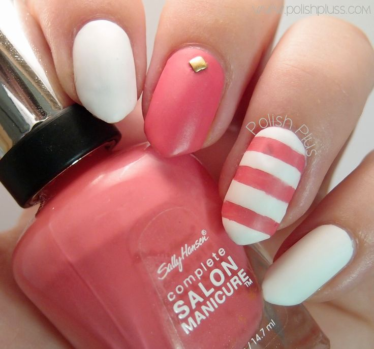 Mattte White and Pink for a summery manicure | Polish Plus #nails #nailart #beach