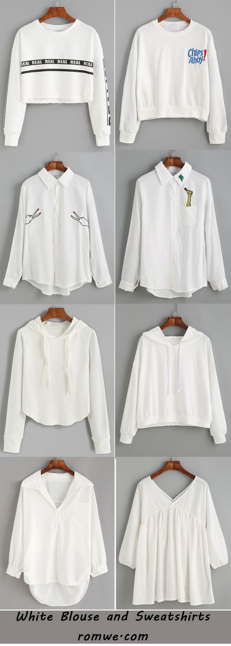 Pure Color - white blouses and sweatshirts from romwe.com