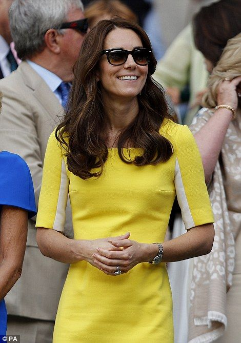Kate looked radiant in a yellow dress by Roksanda. Sunglasses, watch, earrings, ring. jewelry. Wimbledon July 7 2016