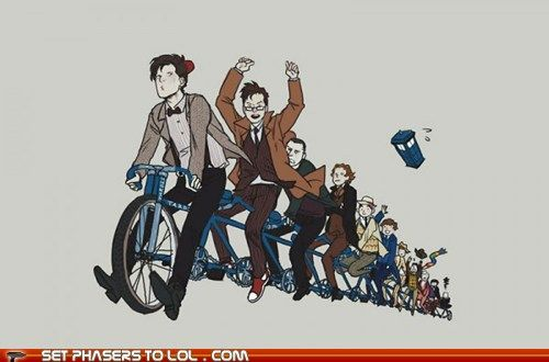 "all 11 on a bicycle<--- are we going to ignore the fact that this picture depicts all of their personalities so perfectly?? I mean, just look at four trying to grab his hat which is flying off, and nine with the intense focus, and ten ""no hands!"" #doctor #who <-- perfection"