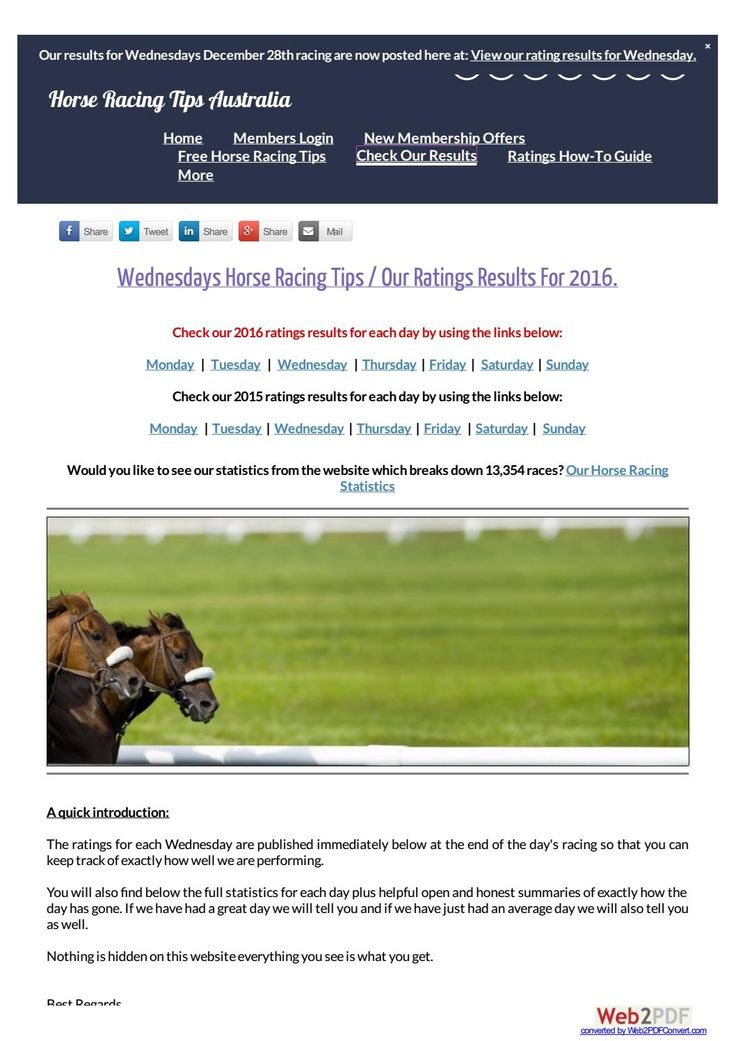 Wednesdays December 28th 2016 Horse Racing Tips Today's Results