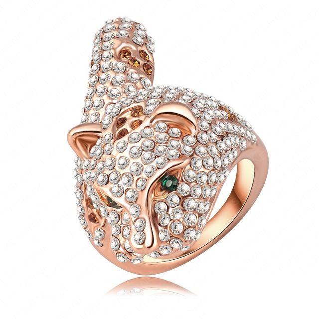 Top a la moda Punk Pop Leopard forma anillos de compromiso With18K en oro rosa y cristal checo joyería punky Ri-HQ0178