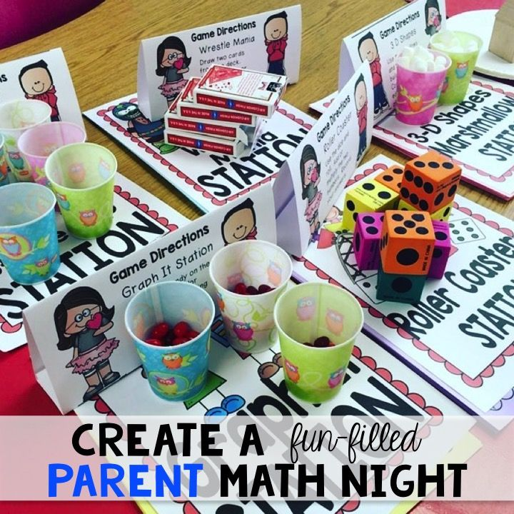 Create a fun-filled parent math night.  Just print and play.  Very little prep!