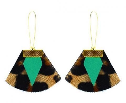 Boucles d'oreilles en cuir léopard vert d'eau chloé Charly James vu dans la presse à retrouver sur Selectionnist.com