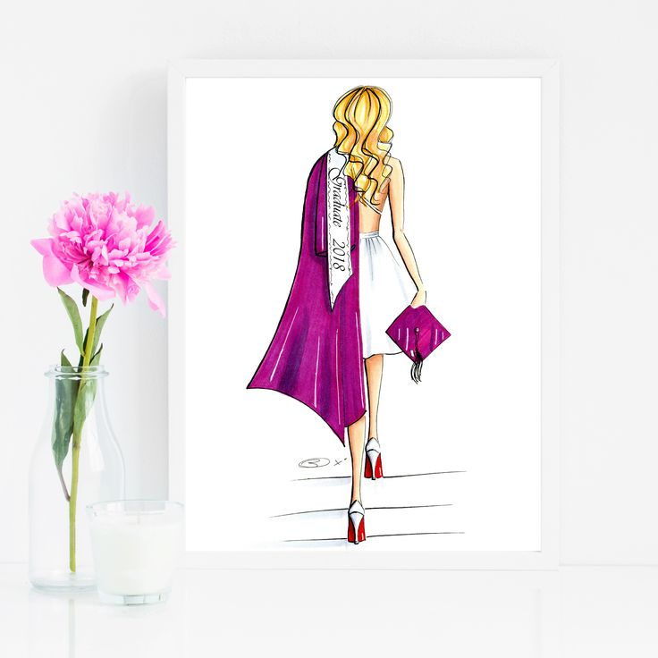 Cute Grad Gift idea! Customize hair and gown color!   Graduation Gift / Custom Gift for Her / High School Grad / Personalized Gift / Grad Gift for Friend / Custom Art Print / Grad Illustration