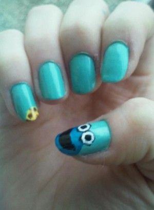 Cookiemonster nagels, nailart