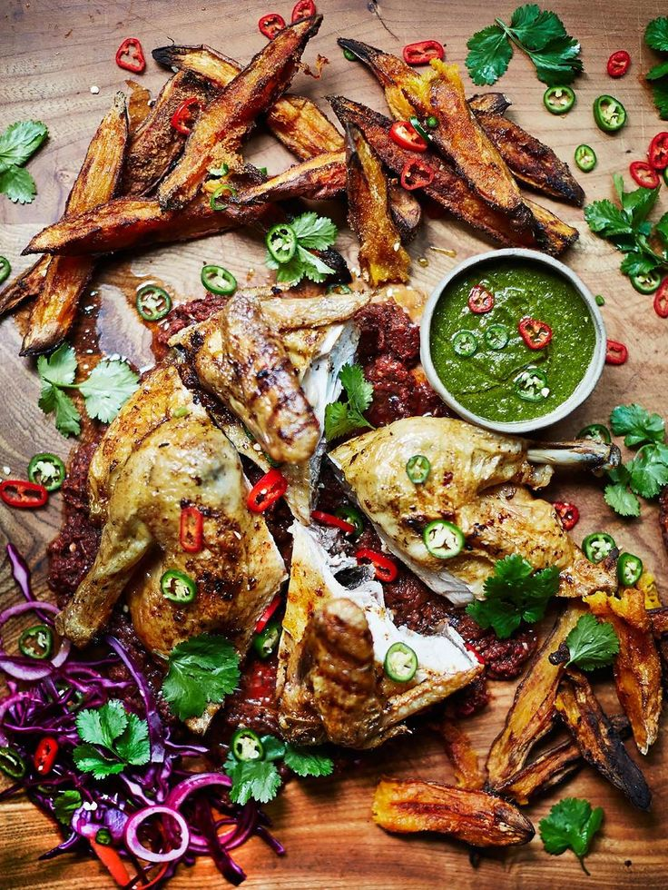 Piri piri chicken, with sweet potato wedges.