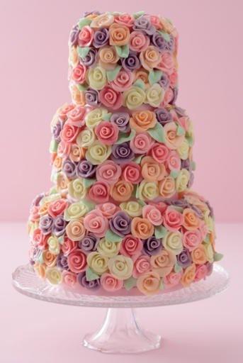 multi-tier rosette wedding cake in luscious pastels