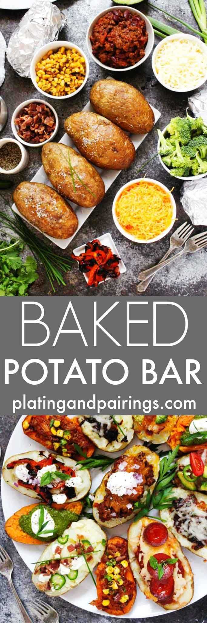 http://www.keeshndb.com/ Create a Grilled Baked Potato Bar for your next party, potluck or tailgating event. It's a fun and festive way to feed a crowd, and the topping possibilities are endless. | platingsanpdairin... #keeshndb @foodvinerecipes, @foodfinderdiaryhttp://www.platingsandpairings.com/grilled-baked-potato-bar/
