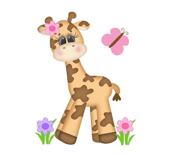 SAFARI ANIMAL NURSERY Giraffe Decal Baby Girl by decampstudios