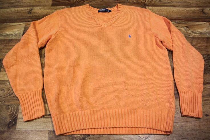 Mens RALPH LAUREN V-Neck Cardigan Pullover Orange 100% Cotton Loose Fit  sz M #RalphLauren