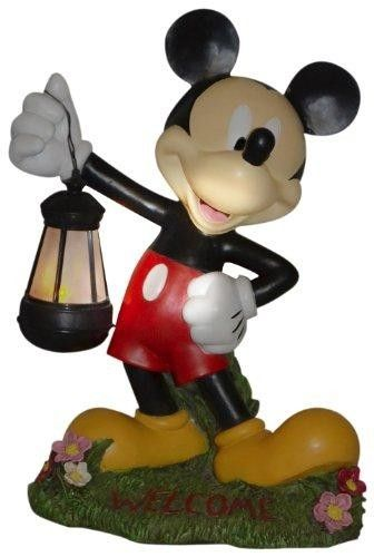 Woods International 4021 Mickey Mouse Holding Lighted Lantern, 15-Inch By 11.375-Inch By 7.625  Durable polyresin outdoor statue of Mickey Mouse holding a lighted lantern. Fully painted in bright colors. Lantern is lit with a battery operated timed light. Stays on for 5 hours of your choosing. Easily re-set by removing and re-installing batteries. Welcome is printed in red on the base.