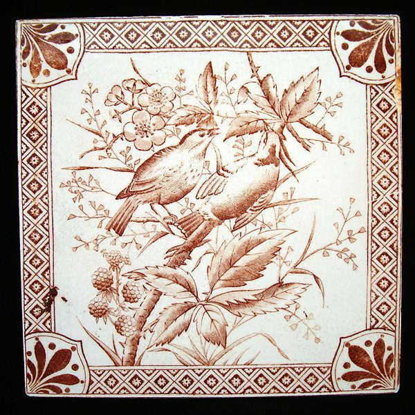 aesthetic movement   Aesthetic Movement Tile ~ Birds with Raspberries 1885