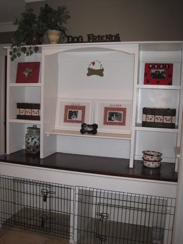 Daughter-in-law, If you do a built-in on the wall to the laundry room you could do something like this for the dogs.