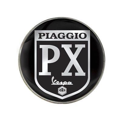 Vespa Piaggio PX Black B/G Chrome Effect Logo Gel Domed Decal/Sticker 90mm | eBay