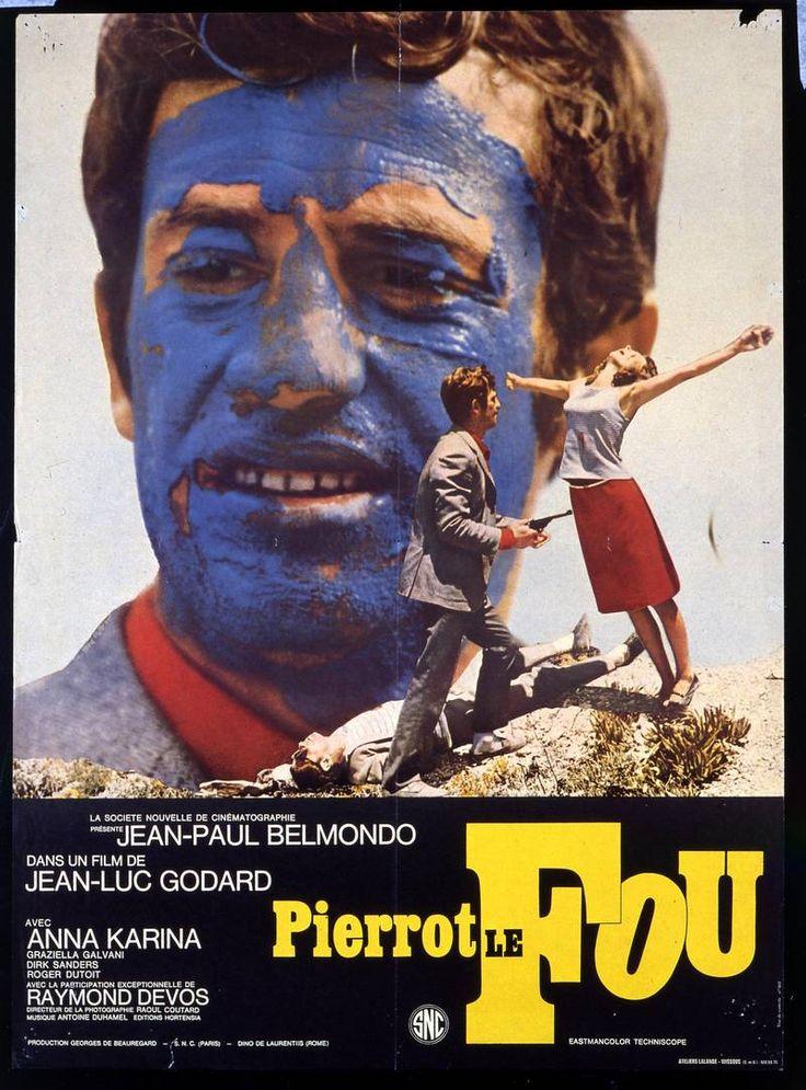 """Godard - """"Pierrot le fou"""", avec Anna Karina et Belmondo, road trip mélant destruction, violence, folie, tendresse (malgré tout). Un chef d'oeuvre, qui aborde la guerre, la société qui implose. L'amour qui ne sera que déchirement. Le désir de liberté, de foi réduit à néant par la mort et les éléments extérieurs. A voir et à revoir."""