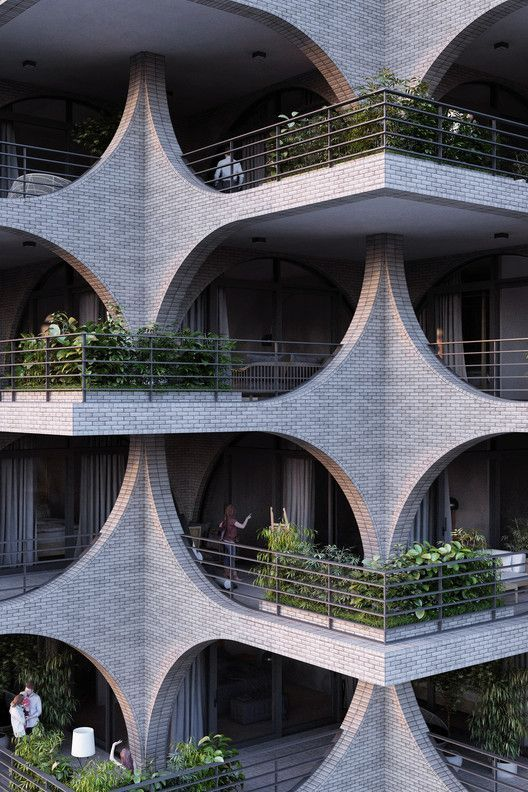 Cascading Brick Arches ist in Penda's Residential Tower in Tel Aviv, Cour