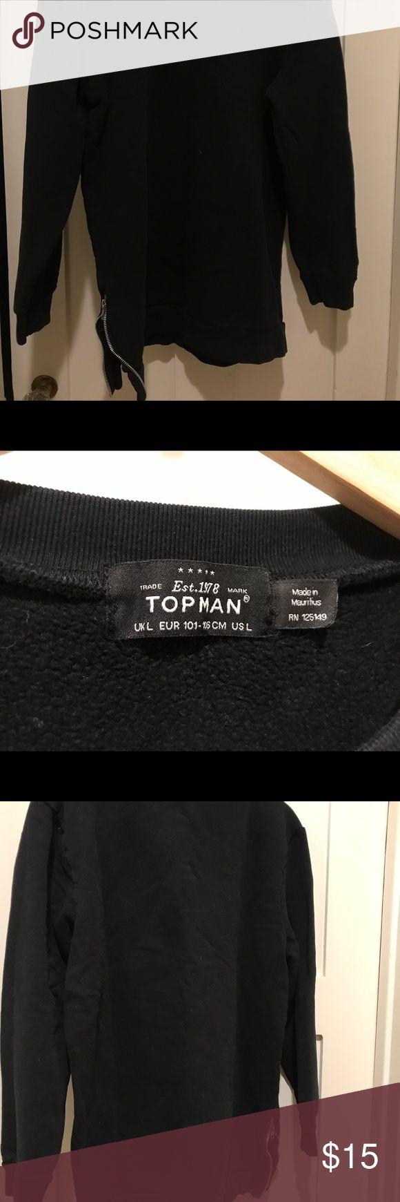 Black Crew Neck Jacket Black Crew Neck Sweatshirt Topman Jackets & Coats Lightweight & Shirt Jackets