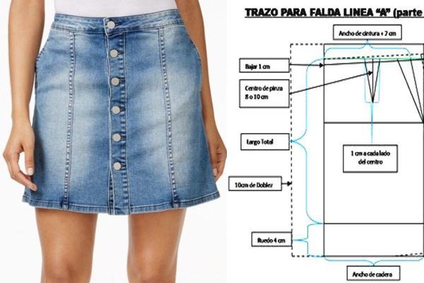 8097ac0e2 Falda en Jeans con Patrones para DESCARGAR. Las faldas de Jean o ...