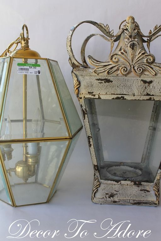 Diy French lantern using a thrifted 80s-era light.