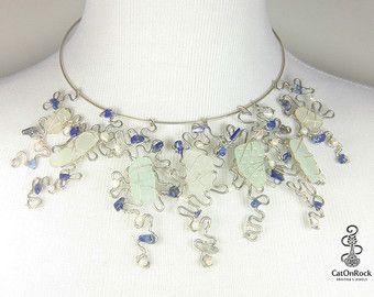 Collar de cristal de mar, joyería de cristal del mar, Lapis collar, joyería de cristal de mar venta, declaración collar, joyería de la boda, joyería nupcial