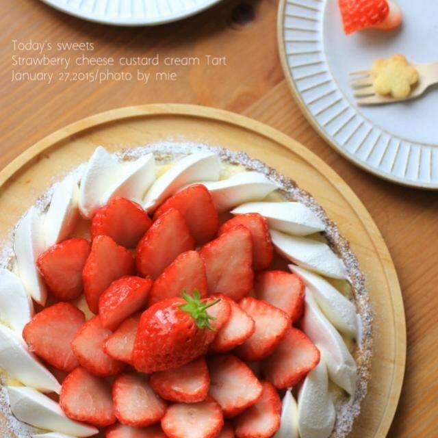 イチゴ狩りのお土産でたくさん苺をいただいたので タルトに。 - 168件のもぐもぐ - 苺とチーズカスタードのタルト by studioM