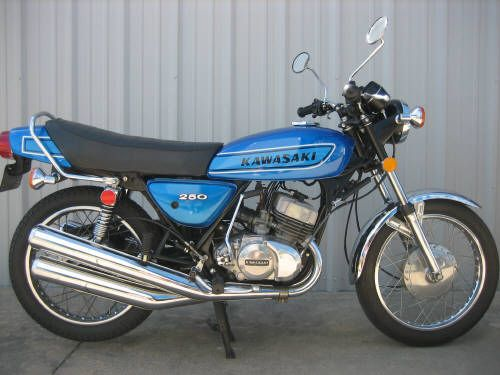 1974 KAWASAKI 250 S1 BLUE I owned one of these back in the day. Picked it up as a low mileage slightly damaged accident bike. But was very easy to fix. (Picture from www).