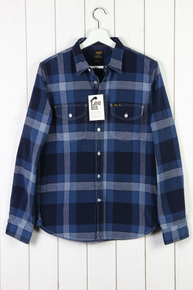 NEW LEE 101 WORKER SHIRT REGULAR FIT INDIGO BLUE CHECKERED RRP/90£ S/M/L/XL/XXL