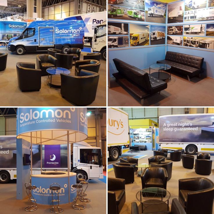 Our Black Tub Chairs, Round Glass Coffee Tables, Black Leather Sofas and Black Z Stools looked very sophisticated at the Commercial Vehicle Show at the NEC Birmingham for Solomon Commercials.  www.alfrescohire.co.uk 01279 870997  #events #wedding #furniture #hire #sofa #Essex