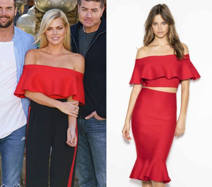 Sophie Monk wears this red off shoulder crop top in this episode of The Bachelorette on Wednesday the 18th of October 2017. It is the Sheike Heartbeat Knit Top.