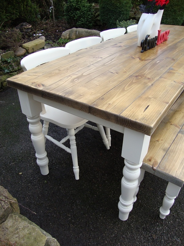 Solid pine table including, top, legs and skirt. Need to make this and use current chairs. Next project.