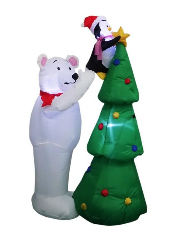Inflatable Polar Bear Penguin With Christmas Tree 5 Ft Led Gemmy Home Accents G Goruntuler Ile
