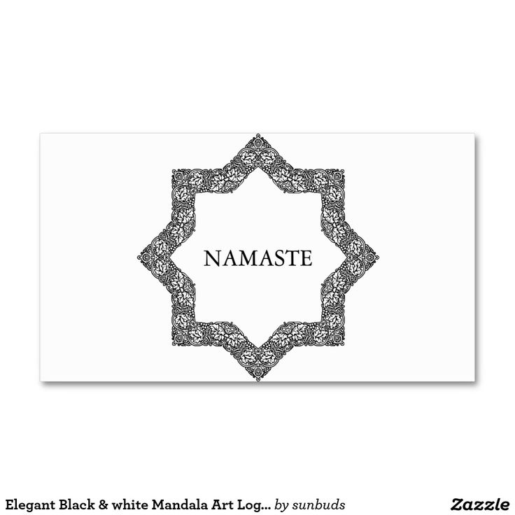 Elegant Black & white Mandala Art Logo Yoga Business Card