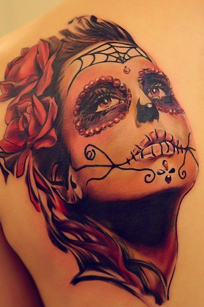 ~Sugar Skull Girl~ I LOVE these tattoos!