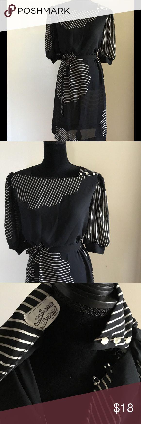 "Vintage Simon Sez Dress Simon Sez tie Black and White, slightly sheer dress. Perfect for date night! Bust 36"" waist 29""-30"" Dresses"
