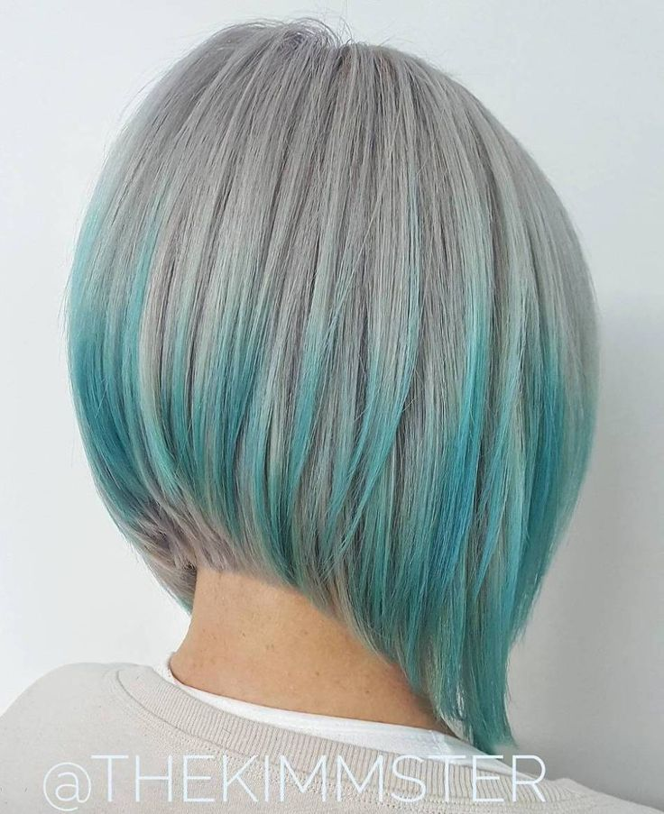 Gray Bob With Blue Highlights; Olivia's hair with the blue highlights