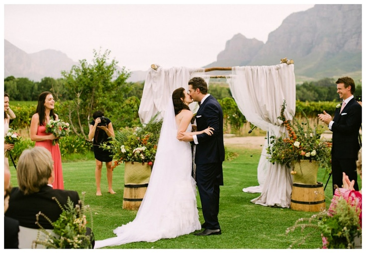 Simple outdoor wedding altar