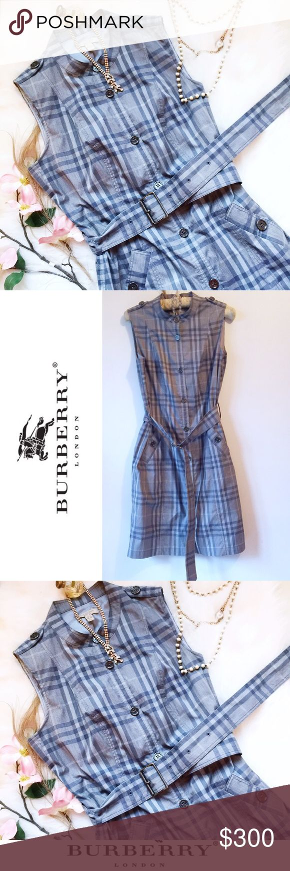 . Blue Belted Shirt Dress in plaid 6 NWOT • \\Burberry Brit// Blue Belted Shirt Dress in plaid ::: US size [6] ::: Adjustable belt ::: Authentic + rare pattern + design by Burberry ::: Fully lined + buttons to close ::: Please ask any + all questions prior to purchase ::: Photos of actual items for sale ::: Bought originally from Harrod's London for [$450] • Burberry Dresses Midi