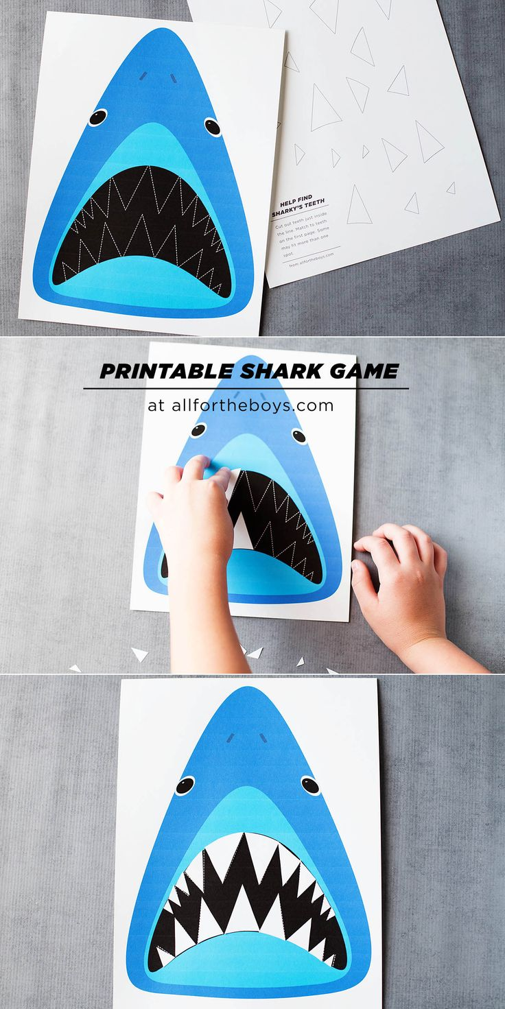 Printable shark tooth puzzle game, fun for a shark party or just an every day…