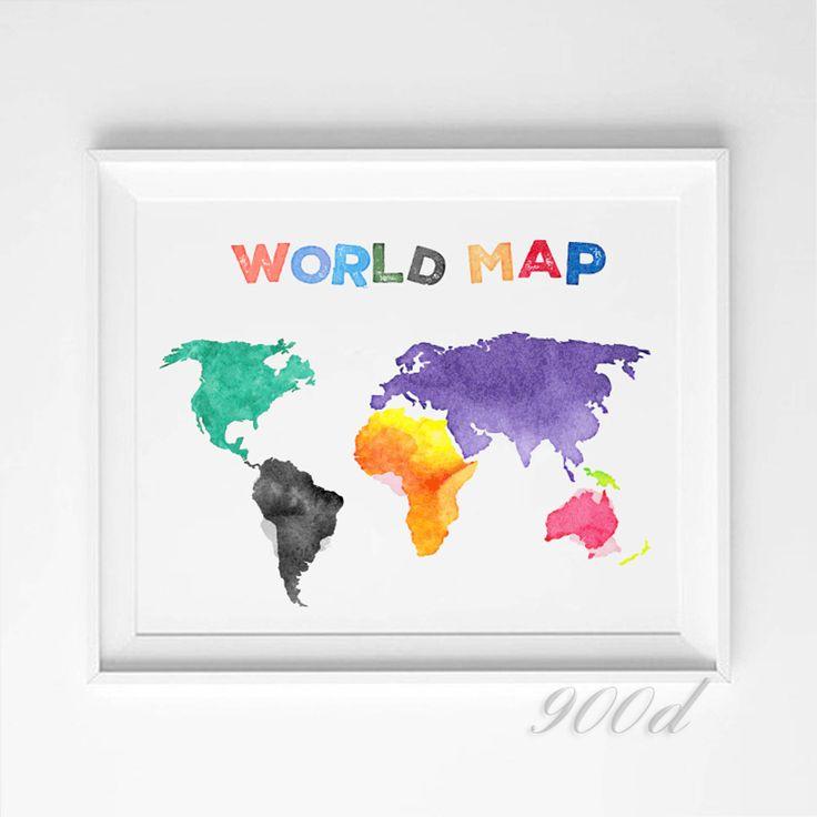 Купить Красочный мультфильм карта мира весенний дождь арт принт mail, Настенные панно для украшения дома печать на холсте, Декор стен 343и другие товары категории Рисование и каллиграфияв магазине 900DнаAliExpress. фотографии неделю времени и плакаты номер